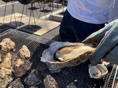 阿蘇門前町商店街で牡蠣まつり